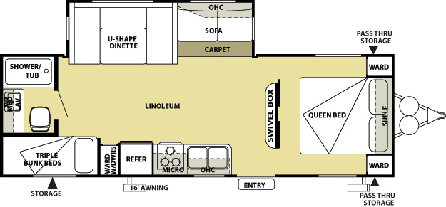 the floor plan of a Tall Timbers rental RV