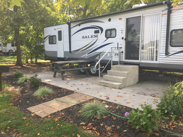 the exterior of a Tall Timbers rental RV
